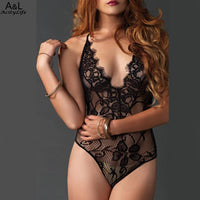 Halter Sexy Women Neck Lace See Through Floral Bodysuits Sleepwear