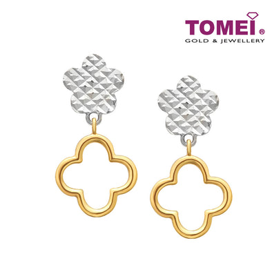 [Online Exclusive]Dual-Tone Clover Earrings Earrings I Tomei Yellow Gold 916 (22K) (XXE212490-YW-II-2C)