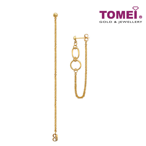 [Online Exclusive]Swanky Oval, Circle & Line Earrings | Tomei Yellow Gold 916 (22K) (VXXTE12204-II-1C)