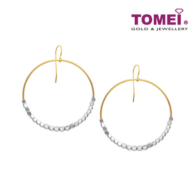 [Online Exclusive]Dual-Tone Hoop with Beads Earrings | Tomei Yellow Gold 916 (22K) (VXXTE212250-YW-II-2C)