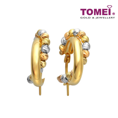 [Online Exclusive]Golden Hoop with Tri-coloured Spheres Earrings | Tomei Yellow Gold 916 (22K) (XXHE213147-TC-MDC-3C)