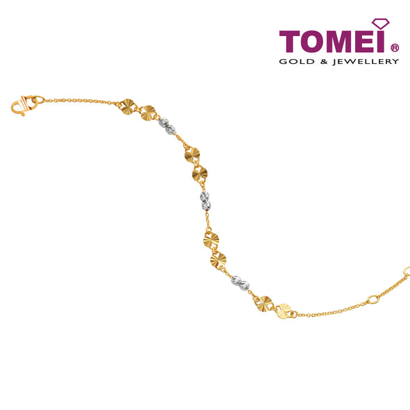 [Online Exclusive]Dual-Tone Mini Beads Bracelet | Tomei Yellow Gold 916 (22K) (BB3168-E-2C)