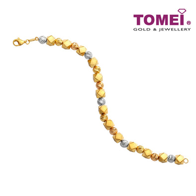 [Online Exclusive]Tri-Tone Spheres and Squares Bracelet | Tomei Yellow Gold 916 (22K) (VX4DCBCB202598-TC-3C)