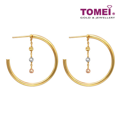 [Online Exclusive] State of the Art with Tri-coloured Spheres Earrings | Tomei Yellow Gold 916 (22K) (XXTE211095-TC-MDC-3C )
