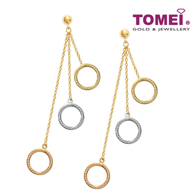 [Online Exclusive] Tri-Tone Spheres in Gradual Motion Earrings | Tomei Yellow Gold 916 (22K) (XXDCTE210631-TC-3C  )