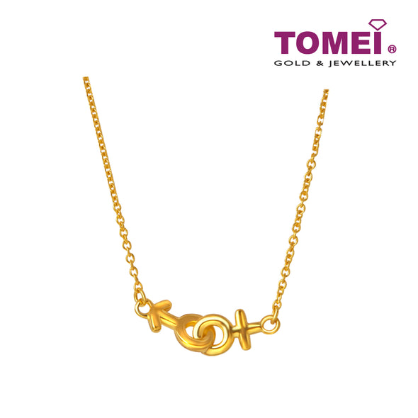 Rantaian Cinta You & Me Necklace | Tomei Yellow Gold 916 (22K) (SET-N3145-1C)