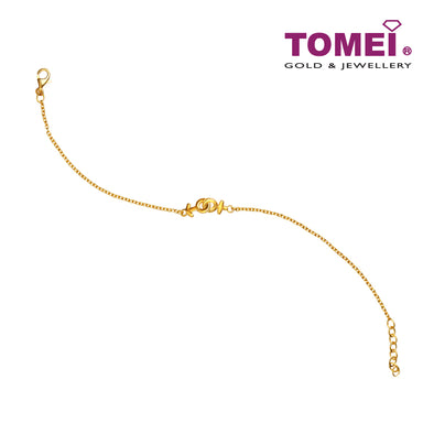Rantaian Cinta You & Me Bracelet | Tomei Yellow Gold 916 (22K) (SET-B3145-1C)