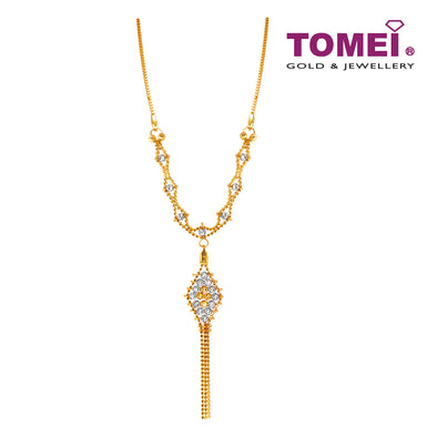Dewi Pujaan Dual-Tone Bewitched Bead Necklace | Tomei Yellow Gold 916 (22K) (SET-NGHSP-72-2C)