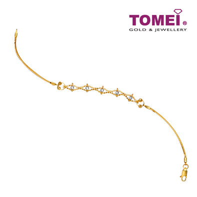 Dewi Pujaan Dual-Tone Bewitched Bead Bracelet | Tomei Yellow Gold 916 (22K) (SET-BGHSP-72-2C)