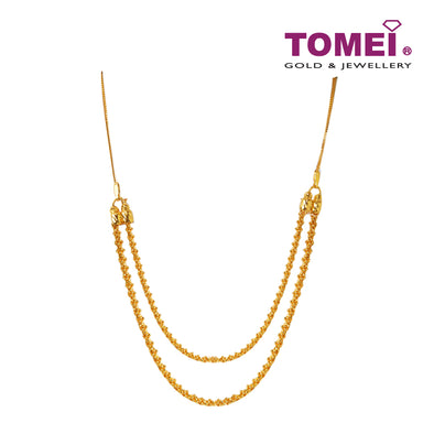 Klasik Emas Majestic Double Strand Bead Necklace | Tomei Yellow Gold 916 (22K) (SET-NGHSP-66-1C)