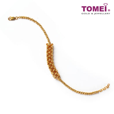 [Online Exclusive] Classy Circular and Crocheted Bracelet | Tomei Yellow Gold 916 (22K) (BB2738-1C)