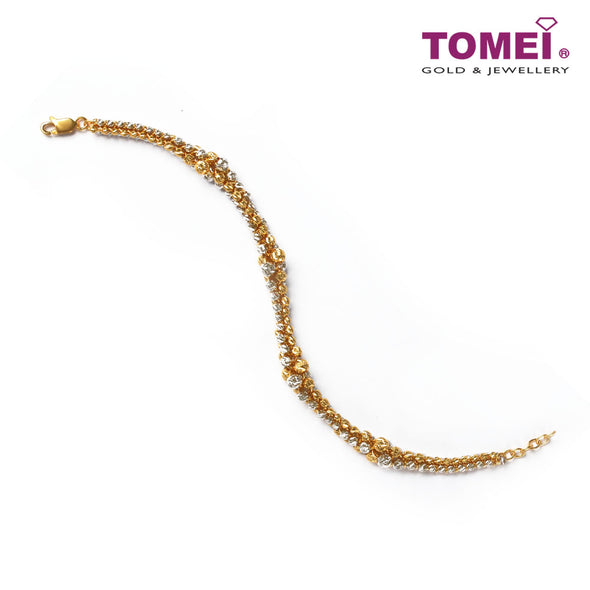 [Online Exclusive] Intertwined Circularity of Contrast Bracelet | Tomei Yellow Gold 916 (22K) (BB2598-C-2C)