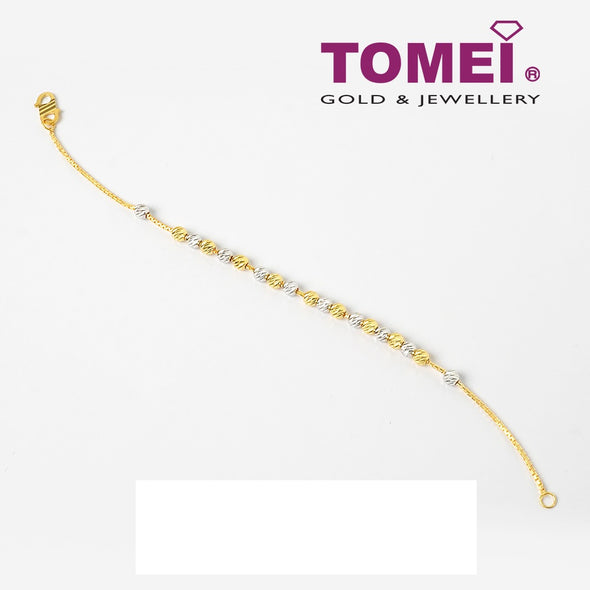 Dual-Tone of Enchanting Splendour in Linear Array Bracelet | Tomei Yellow Gold 916 (22K) (BB1112-A-2C)