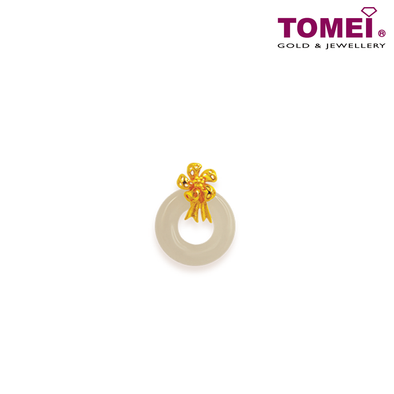 "[Online Exclusive] Tomei Yellow Gold 999 (24K) ""Goldrious Abundance"" Ribbon Flower White Nephrite Pendant with Complimentary Rope Necklace (NEP-P-HUA-2)"