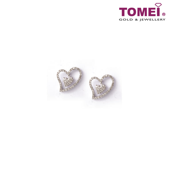 [Last Piece] Glittering Pavé of Dazzling Hearts Diamond Earrings | Tomei White Gold 750 (18K) (DQ0056781)