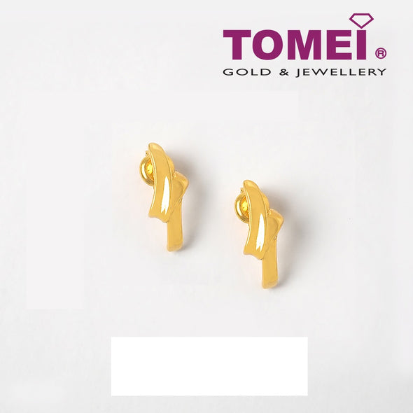 Satin Ribbony Strand Earrings | Tomei Yellow Gold 916 (22K) (WS-YG1161E-1C)