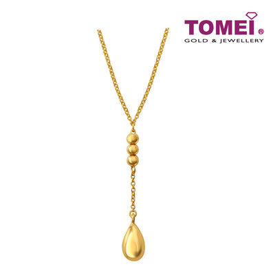 [Online Exclusive] Necklace of Tri-Spherical Droplets with the Golden Water Drop | Tomei Yellow Gold 916 (22K) (NN3147-1C)