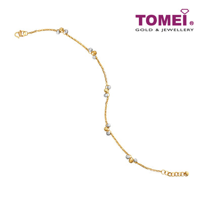 [Online Exclusive] Bracelet of Tri-Spherical Contrast in Linear Continuity | Tomei Yellow Gold 916 (22K) (BB2592-A-1C)
