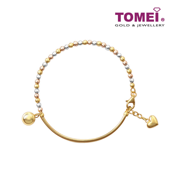 [Online Exclusive] Bracelet of Contrast and Continuity on a Semicircle with The Heart and Sphere | Tomei Yellow Gold 916 (22K) (BB0020-A-3C)