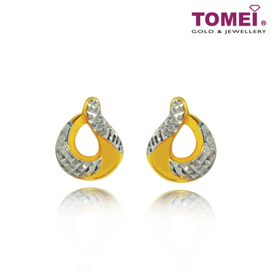 "Tomei Yellow Gold 916 (22K) ""Ooh La La"" Earrings (9Q-YG1070E-2C)"