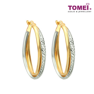 Dual-Tone Dazzling Simplicity Hoop Earrings | Tomei Yellow Gold 916 (22K) (IQ0030161)