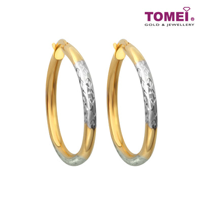 Dual-Tone Glitzy Dazzles Hoop Earrings | Tomei Yellow Gold 916 (22K) (IQ0030141)