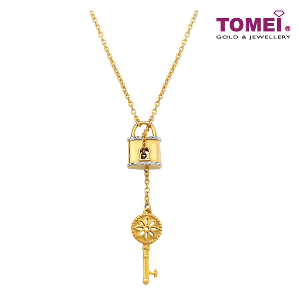 Key with Floral Inspiration to Your Heart Lariat Necklace | Tomei Yellow Gold 916 (22K) (9N0417592)