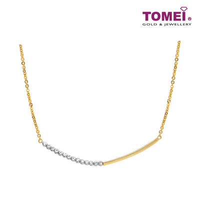 Dual-Tone Glowing Gold Bar & Bead Necklace | Tomei Yellow Gold 916 (22K) (IN0013256)