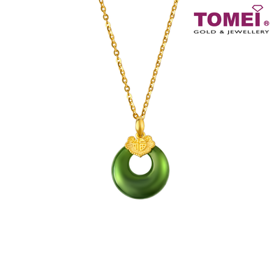 [Online Exclusive]Moonlight Blossom Green Nephrite Jade Pendant | Tomei Yellow Gold 999 (24K) (NEP-P-FZ4)