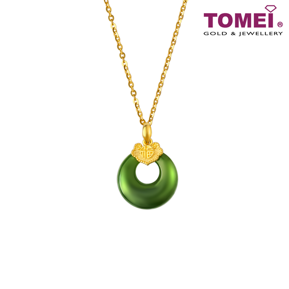 Moonlight Blossom Green Nephrite Jade Pendant | Tomei Yellow Gold 999 (24K) (NEP-P-FZ4)