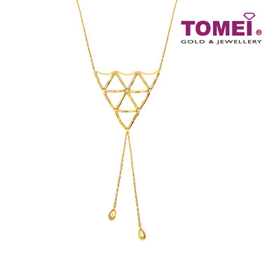 Geometric Triangle Lariat Necklace | Tomei Yellow Gold 916 (22K) (9N0437751)