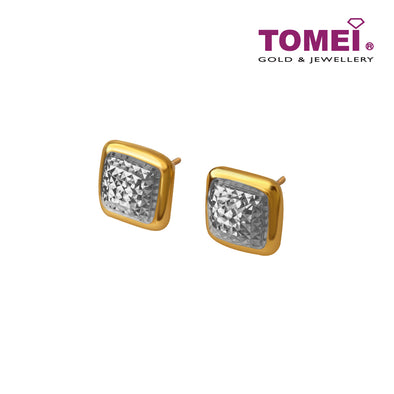Dual-Tone Square Earrings Subang Biskut Tawar | Tomei Yellow Gold 916 (22K) (9Q-DM-E6347-S-2C)