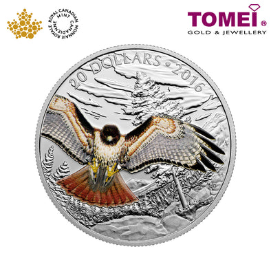 "Tomei x  Royal Canadian Mint Silver 9999 ""2016 Majestic Animals: Regal Red-Tailed Hawk"" Numismatic Coin 1oz. (150199)"