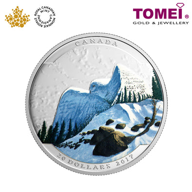 "Tomei x  Royal Canadian Mint Silver 9999 ""2016 Landscape Illusion: Snowy Owl"" Numismatic Coin 1oz. (150509)"