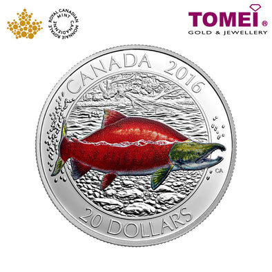 "Tomei x  Royal Canadian Mint Silver 9999 ""2016 Big Fish Series: Sockeye Salmon"" Numismatic Coin 1oz. (150699)"