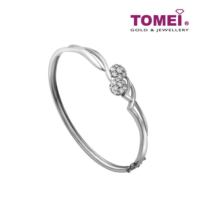 Minimalist of Sparkles with Style Bangle | Tomei White Gold 375 (9K) (B0601)
