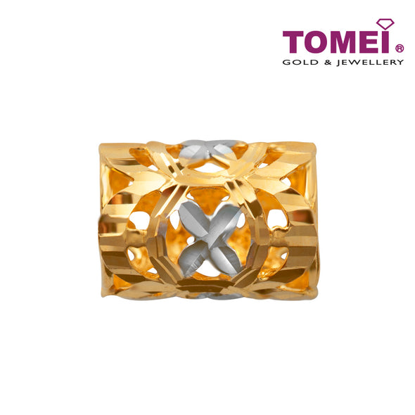 Dual-Tone Floral Lulu Tong Charm | Tomei Yellow Gold 916 (22K) (TM-PT016-2C)