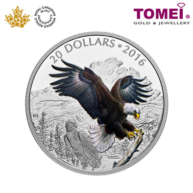 "Tomei x  Royal Canadian Mint Silver 9999 ""2016 Majestic Animals: Baronial Bald Eagle"" Numismatic Coin 1oz. (151780)"