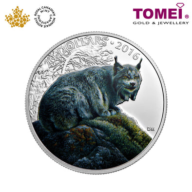 "Tomei x  Royal Canadian Mint Silver 9999 ""2016 Majestic Animals: Canadian Lynx"" Numismatic Coloured Coin 1oz. (151800)"