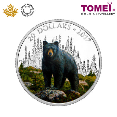"Tomei x  Royal Canadian Mint Silver 9999 ""2016 Majestic Animals: The Bold Black Bear"" Numismatic Coloured Coin 1oz. (151942)"