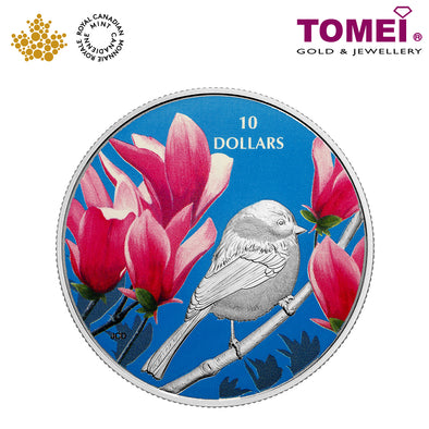 "Tomei x  Royal Canadian Mint Silver 9999 ""2017 Birds Among Nature's Colours: Chickadee"" Numismatic Coloured Coin 1/2oz. (156230)"