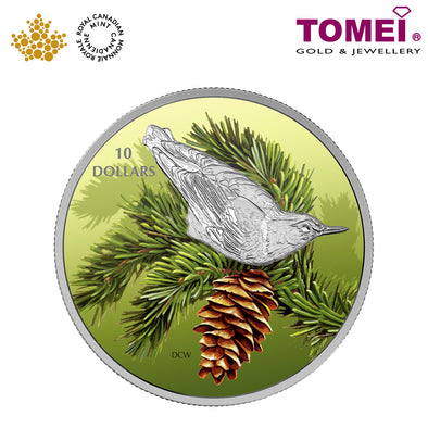 "Tomei x  Royal Canadian Mint Silver 9999 ""2017 Birds Among Nature's Colours: Nuthatch"" Numismatic Coloured Coin 1/2oz. (156238)"