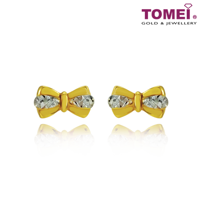 "Tomei Yellow Gold 916 (22K) ""Ooh La La"" Bow Earrings (9Q-YG1061E-2C)"