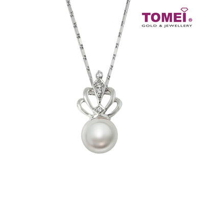 Dazzlingly Regal and Radiantly Lustrous Pearl Diamond Necklace | Tomei White Gold 375 (9K) (P3162V)