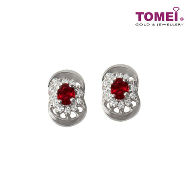 [Last Piece] Sparkles of Dazzling Splendour Ruby Diamond Earrings | Tomei White Gold 750 (18K) (RQ0000528)