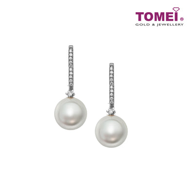 Linear of Lustrous Luminosity Pearl Diamond Earrings | Tomei White Gold 585 (14K) (E1598)