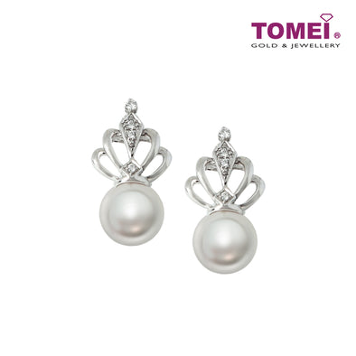 Luminance with Dazzling Radiance of Pearl Diamond Earrings | Tomei White Gold 375 (9K) (P30007414)