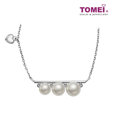 Treble Splendour with Luscious Lustre Pearl Diamond Necklace | Tomei White Gold 375 (9K) (P6105)