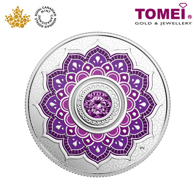 "Tomei x Royal Canadian Mint Silver 9999 ""2018 February Birthstone with Swarovski® Crystals"" Numismatic Coin (164214)"