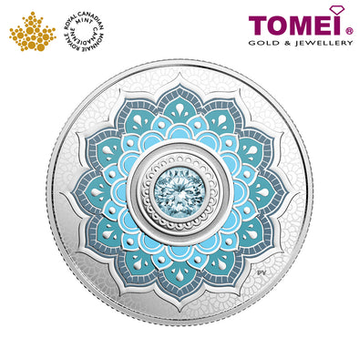 "Tomei x Royal Canadian Mint Silver 9999 ""2018 March Birthstone with Swarovski® Crystals"" Numismatic Coin (164222)"